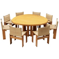 Set of 8 Scarpa 'Monk' Chairs and Triangular Dining Table