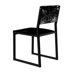 Set of 8 Shaker Chair, by Ambrozia, Ebonized wood, Black Leather & S & P Cowhide