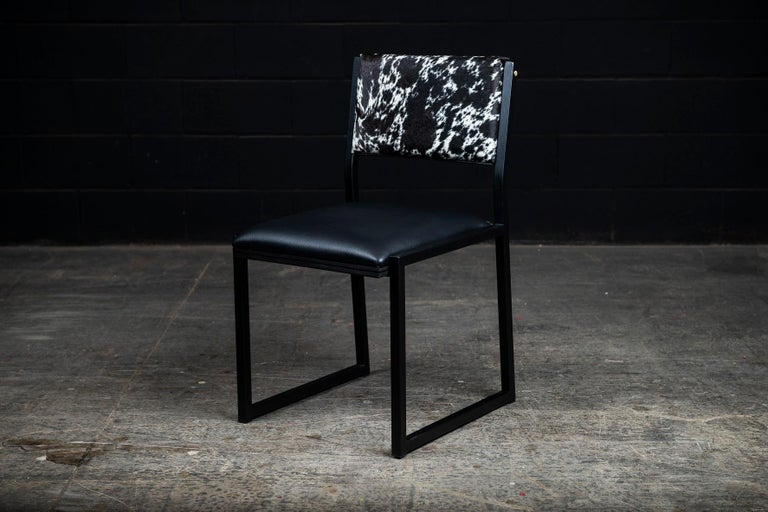 Modern Set of 8, Shaker Chair by Ambrozia, Salt and Pepper Cow Hide and Black Leather For Sale