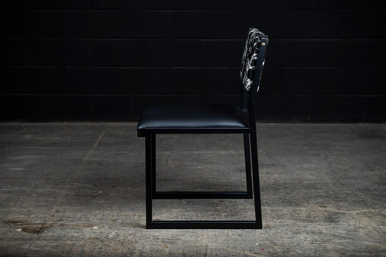 Canadian Set of 8, Shaker Chair by Ambrozia, Salt and Pepper Cow Hide and Black Leather For Sale