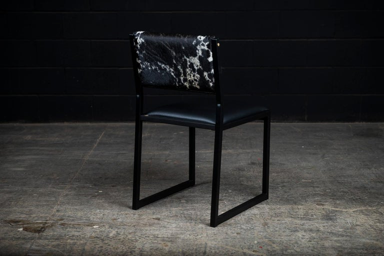 Ebonized Set of 8, Shaker Chair by Ambrozia, Salt and Pepper Cow Hide and Black Leather For Sale