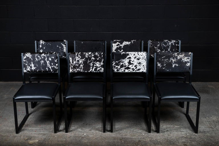 Steel Set of 8, Shaker Chair by Ambrozia, Salt and Pepper Cow Hide and Black Leather For Sale