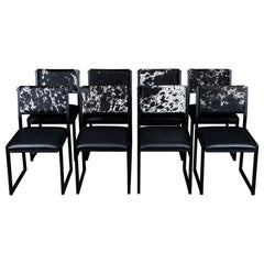 Set of 8, Shaker Chair by Ambrozia, Salt and Pepper Cow Hide and Black Leather