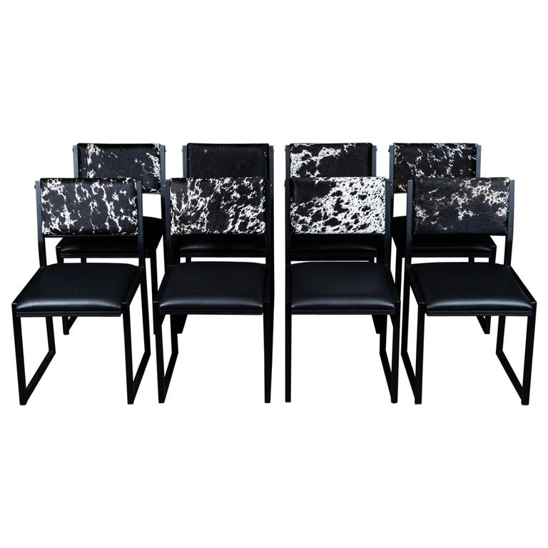 Set of 8, Shaker Chair by Ambrozia, Salt and Pepper Cow Hide and Black Leather For Sale