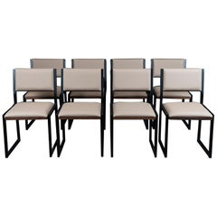 Set of 8, Shaker Chair by Ambrozia, Solid Walnut, Black Steel and Sandle Vinyl