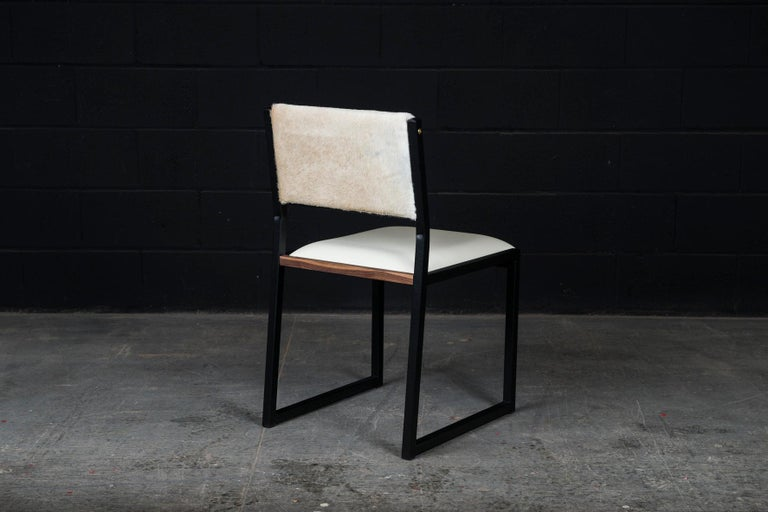 Modern 'Set of 8, Shaker Chair by Ambrozia, Walnut, Black Steel, Leather & Cow Hide For Sale