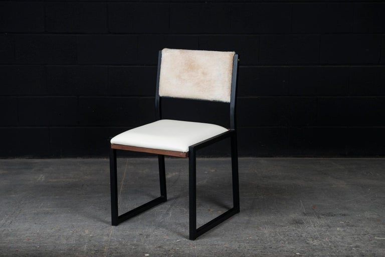 Ebonized 'Set of 8, Shaker Chair by Ambrozia, Walnut, Black Steel, Leather & Cow Hide For Sale