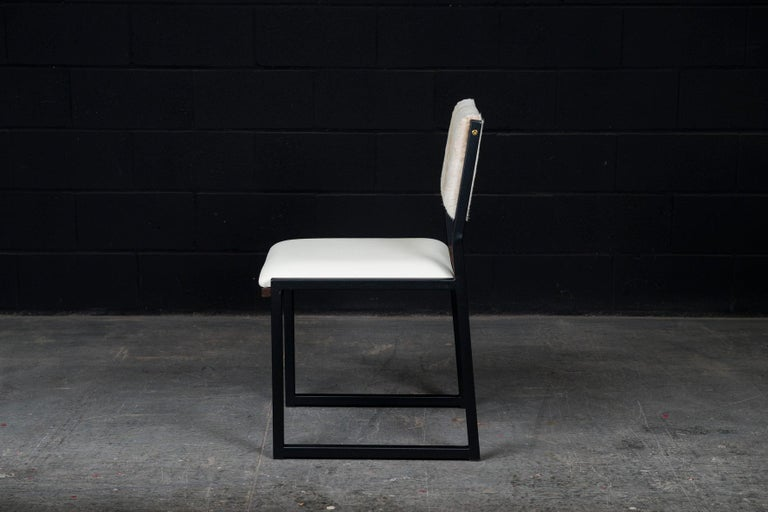 Contemporary 'Set of 8, Shaker Chair by Ambrozia, Walnut, Black Steel, Leather & Cow Hide For Sale