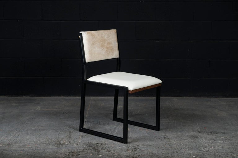 'Set of 8, Shaker Chair by Ambrozia, Walnut, Black Steel, Leather & Cow Hide For Sale 1
