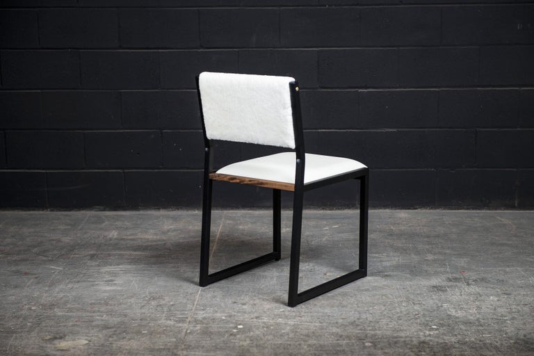 Canadian 'Set of 8' Shaker Modern Chair by Ambrozia, Walnut, Leather & Shearling For Sale