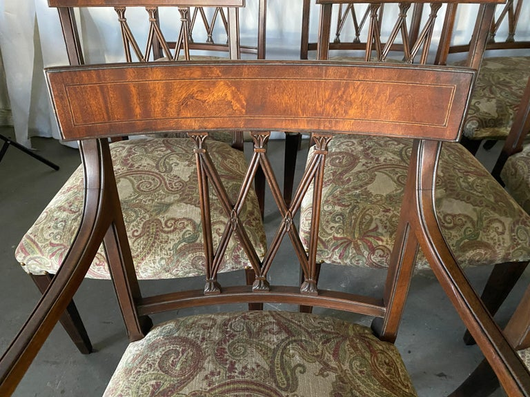 Set of 8 Sheraton Revival Style Dining Chairs In Good Condition For Sale In Great Barrington, MA