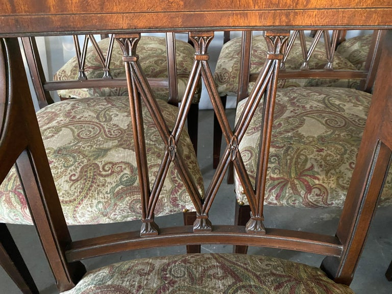 20th Century Set of 8 Sheraton Revival Style Dining Chairs For Sale