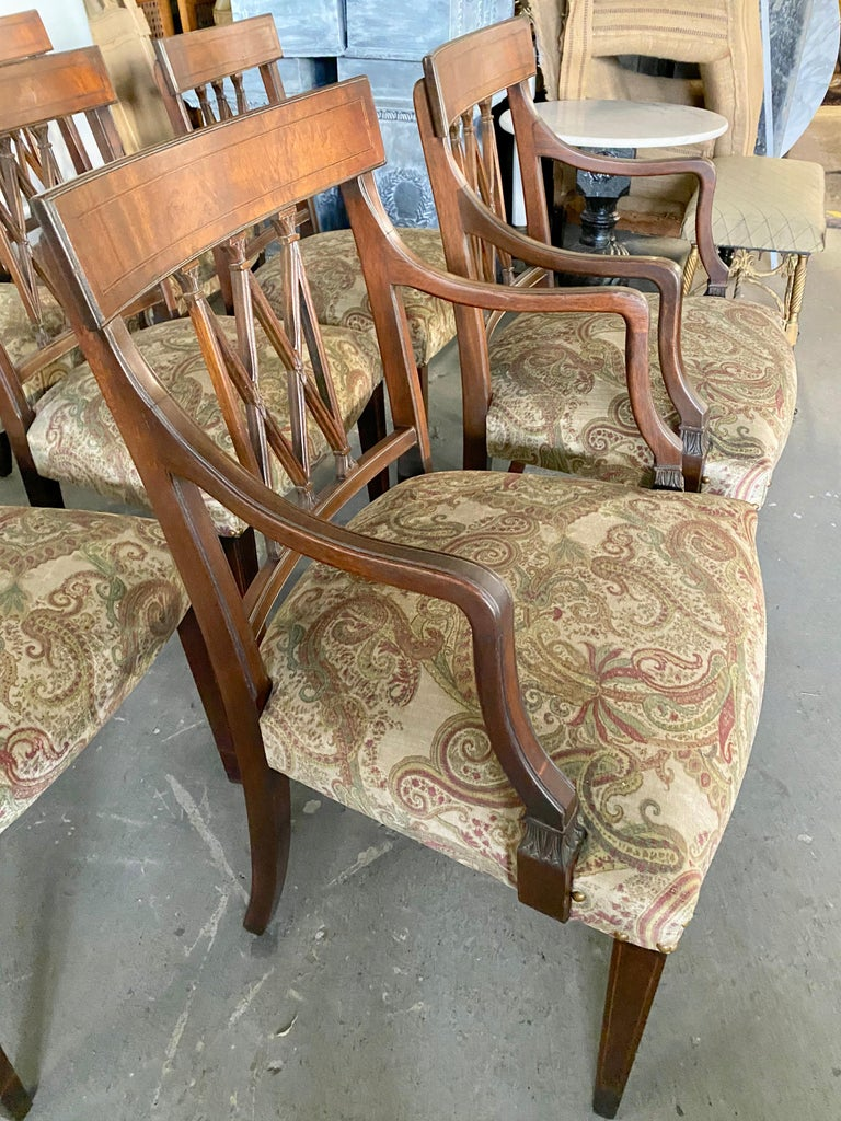Mahogany Set of 8 Sheraton Revival Style Dining Chairs For Sale