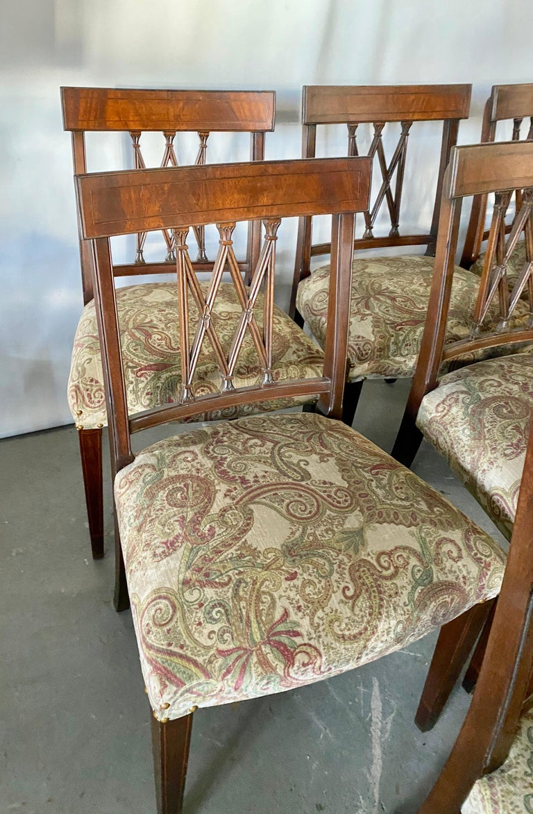 Set of 8 Sheraton Revival Style Dining Chairs For Sale 1