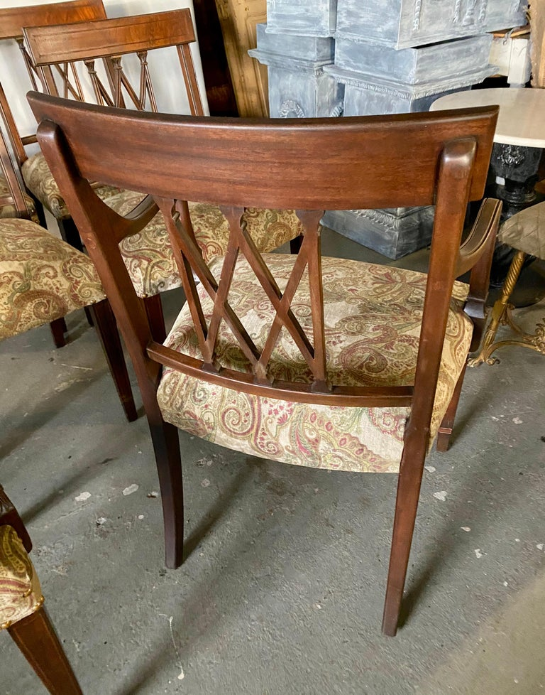 Set of 8 Sheraton Revival Style Dining Chairs For Sale 2
