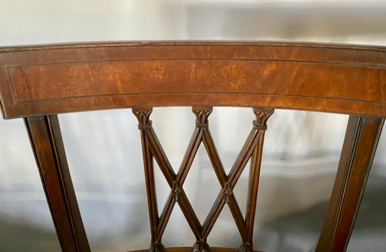 Set of 8 Sheraton Revival Style Dining Chairs For Sale 4