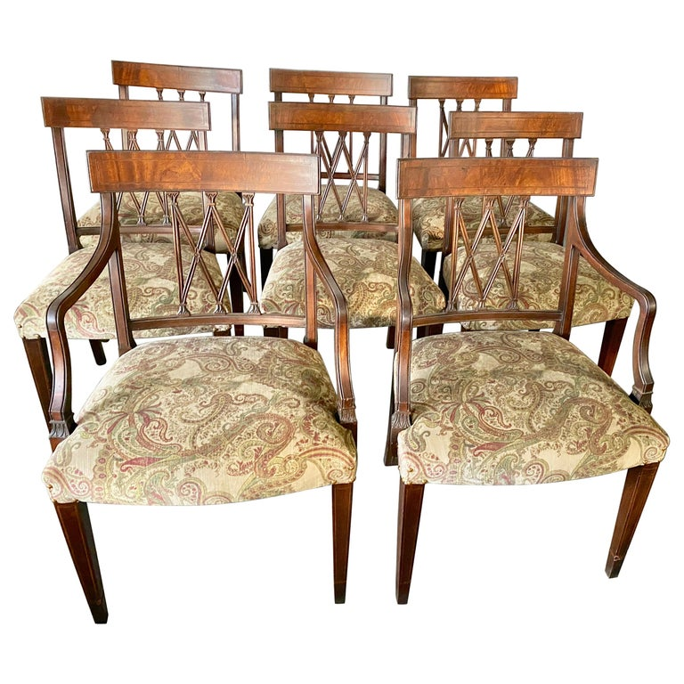 Set of 8 Sheraton Revival Style Dining Chairs For Sale