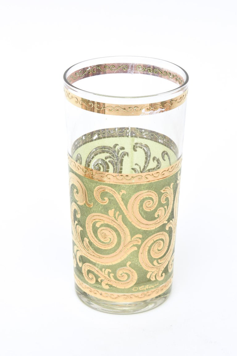 Gold Culver Mid-Century Modern Signed Highballs Glass Barware Mid-Century Modern For Sale