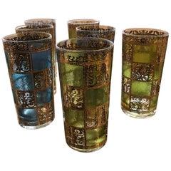 Set of 8 Signed Culver Mid-Century Modern Green, Blue & Gilt Cocktail Glasses