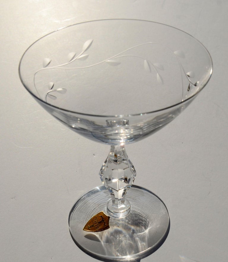 Set of 8 Signed Tiffin Etched Crystal Champagne Coupes or Cocktail Glasses For Sale 1