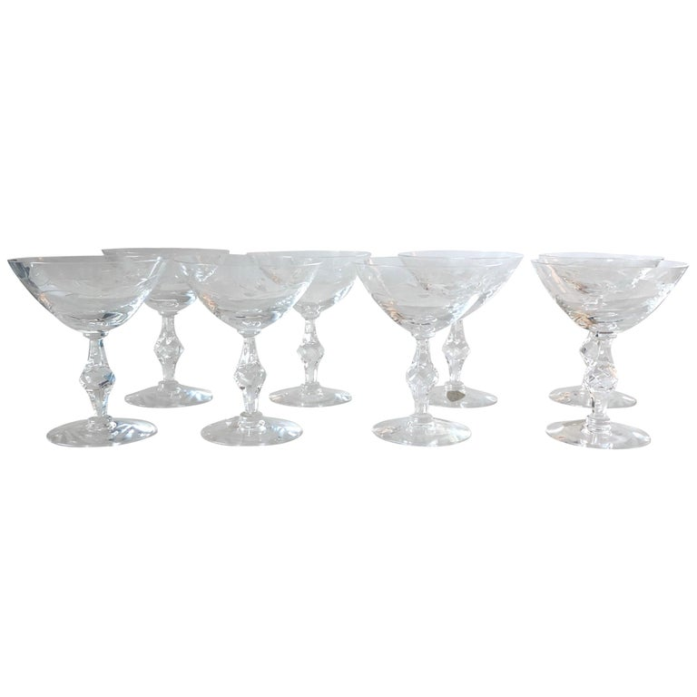Set of 8 Signed Tiffin Etched Crystal Champagne Coupes or Cocktail Glasses For Sale