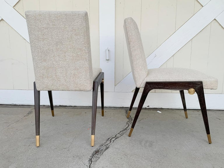Brass Set of 8 Sling Side Chairs by Thomas Pheasant for Baker For Sale