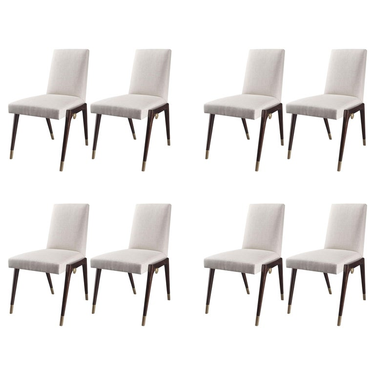 Set of 8 Sling Side Chairs by Thomas Pheasant for Baker For Sale