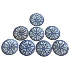 Set of 8 Small Blue and White Plates Sarreguemines, circa 1880