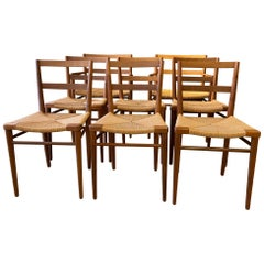 Set of 8 Smilow Design Walnut and Rush Dining Chairs
