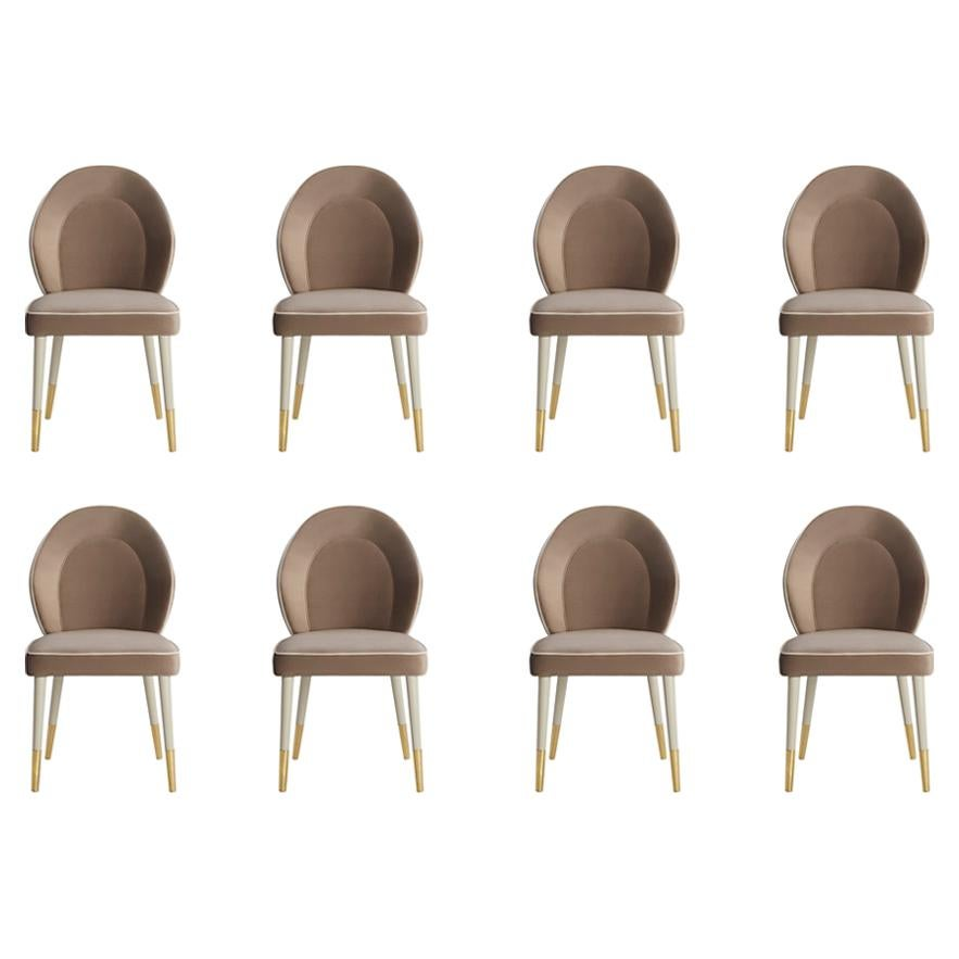 Set of 8 Sophia Dining Chair with Beautiful Back Details and Brushed Brass Tips