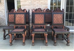 Set of 8 Spanish Embossed Leather Dining Chairs