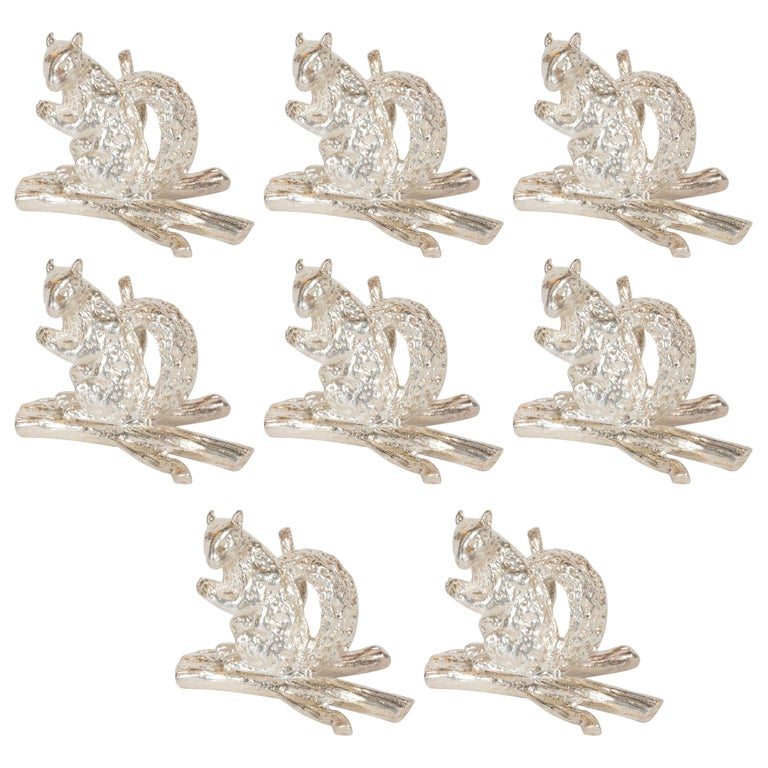 Set of 8 Sterling Silver Place Holders by Tiffany & Co. from Oleg Cassini Estate For Sale