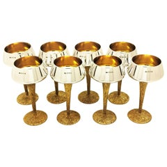 Set of 8 Stuart Devlin Silver and Silver Gilt Wine Glasses / Wine Goblets 1969