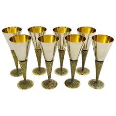 Set of 8 Stuart Devlin Silver Goblets