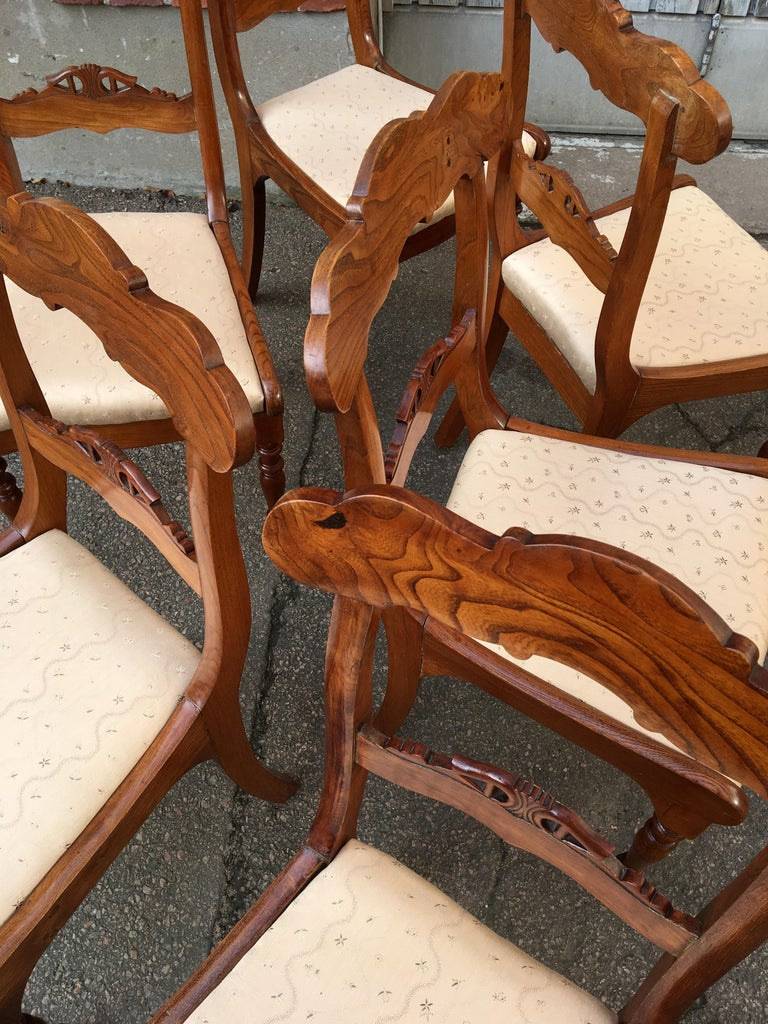 Set Of 8 Swedish Empire Flaming Tiger Elm Wood Dining Room Chairs For Sale 6