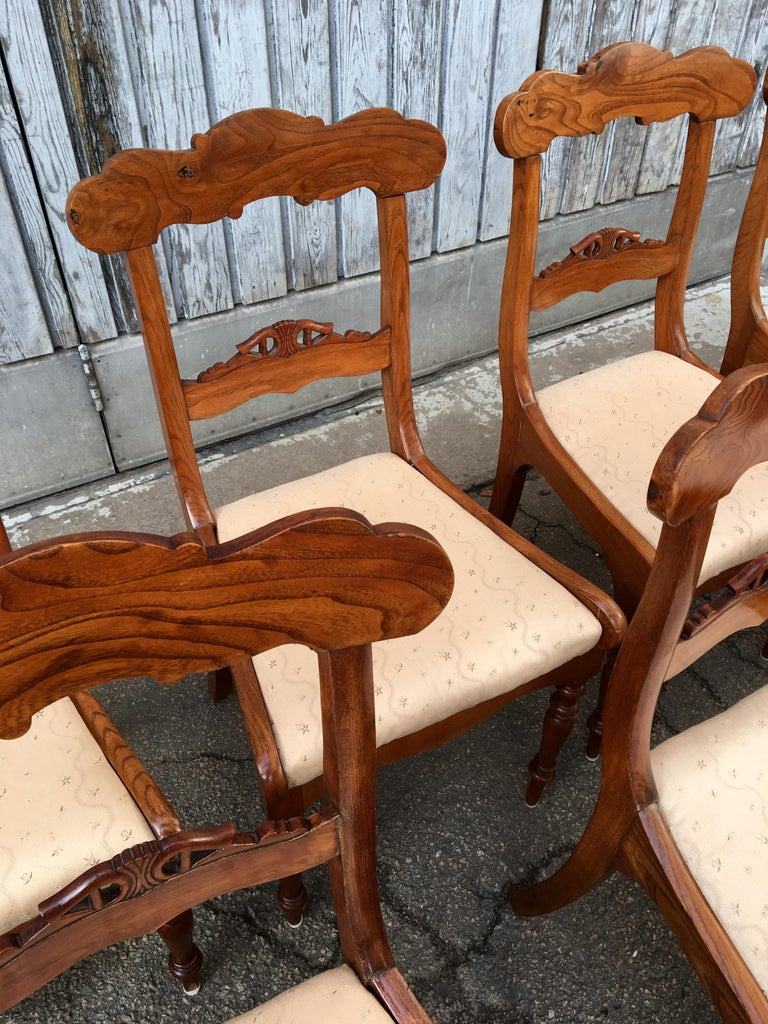 Set Of 8 Swedish Empire Flaming Tiger Elm Wood Dining Room Chairs For Sale 7