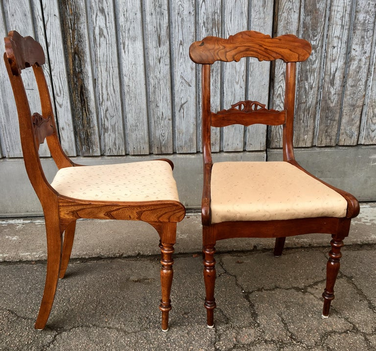 Set Of 8 Swedish Empire Flaming Tiger Elm Wood Dining Room Chairs For Sale 14