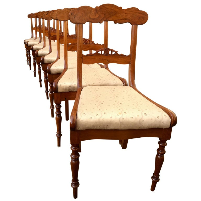 Set of 8 Swedish empire flaming tiger elm wood dining room chairs
