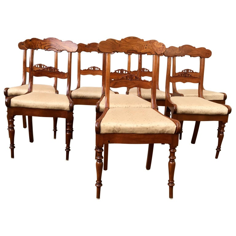Set Of 8 Swedish Empire Flaming Tiger Elm Wood Dining Room Chairs In Good Condition For Sale In Haddonfield, NJ