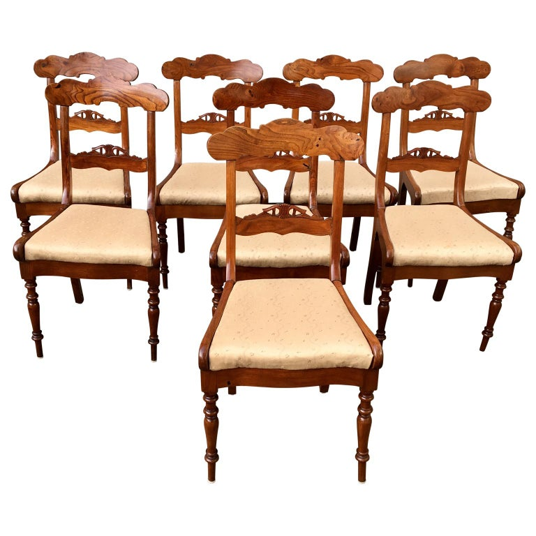 19th Century Set Of 8 Swedish Empire Flaming Tiger Elm Wood Dining Room Chairs For Sale
