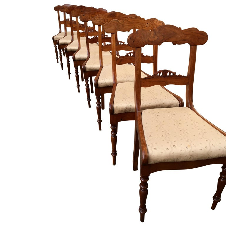 Set Of 8 Swedish Empire Flaming Tiger Elm Wood Dining Room Chairs For Sale 1