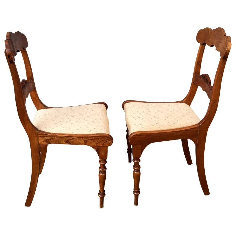 Set Of 8 Swedish Empire Flaming Tiger Elm Wood Dining Room Chairs For Sale 2