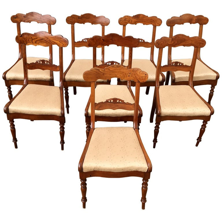 Set Of 8 Swedish Empire Flaming Tiger Elm Wood Dining Room Chairs For Sale