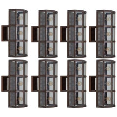 Set of 8 Swedish Midcentury Outdoor Wall Lamps in Copper by Boréns