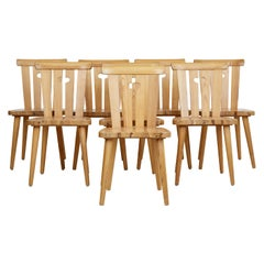 Set of 8 Swedish Pine 1970s Dining Chairs