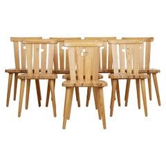 Set of 8 Swedish Pine 1970s Dining Chairs