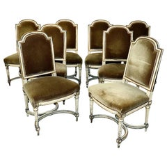Antique Set 8 Swedish or Gustavian Style Side Dining Chairs with Mohair Wool