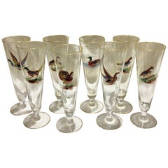 Set of 8 Tall Pilsner Glasses or Champagne Flutes with Enameled Birds
