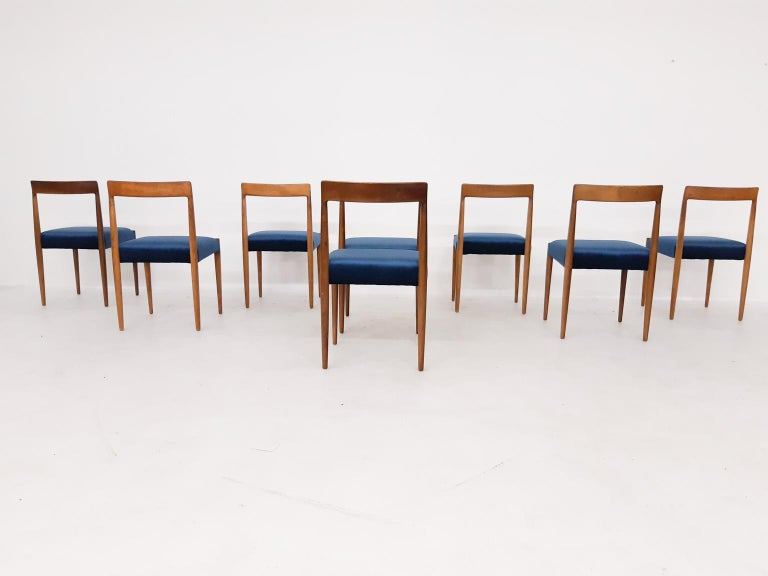Scandinavian Modern Set of 8 Teak Lubke Dining Chairs, Germany, 1960s For Sale