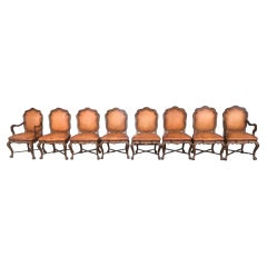 Set of 8 Therien Studio Workshop Dining Chairs Leather and Wood